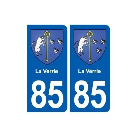 85 La Verrie  blason autocollant plaque stickers ville arrondis