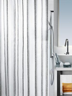 Spirella Murino Grey MOSAIC VERTICAL TEXTILE Polyester SHOWER CURTAIN 180x200