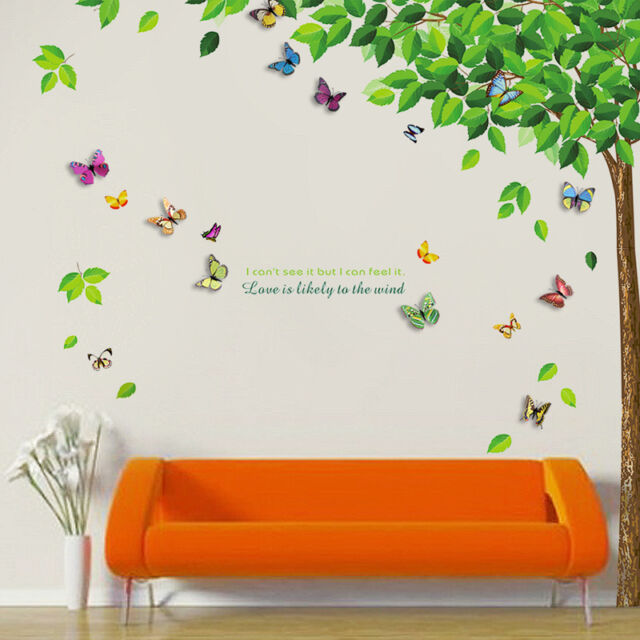walplus wall stickers green leaves 3d colourful butterfly removable