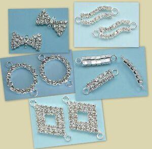 Lot-de-10-Perles-Connecteurs-Faux-Diamant-Strass-sur-Plaque-Argent