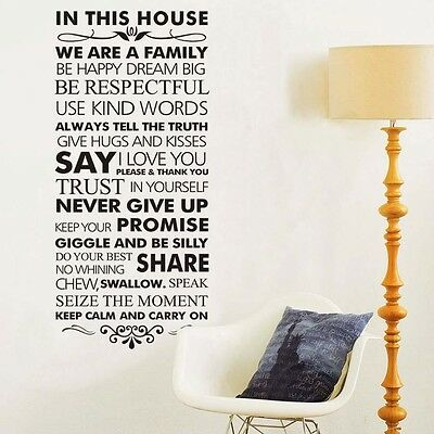 Large Size Family Rules Art Vinyl Wall Stickers Home Wall Decals Letters decor