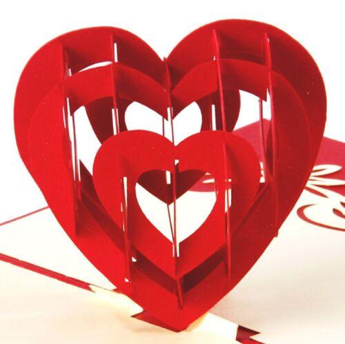 DIY 3D Pop Up Wedding Valentine Love Heart Anniversary Birthday Card Great Gifts