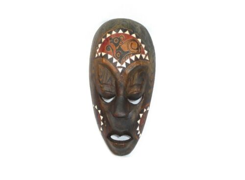 Ausgefallene Holzmaske Maske mit Perlmutteinlagen Lombok Indonesia