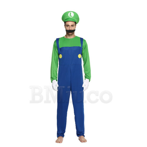 Kids Super Mario Luigi Bros Fancy Dress Costume Cosplay Mens Womens Outfit Sets