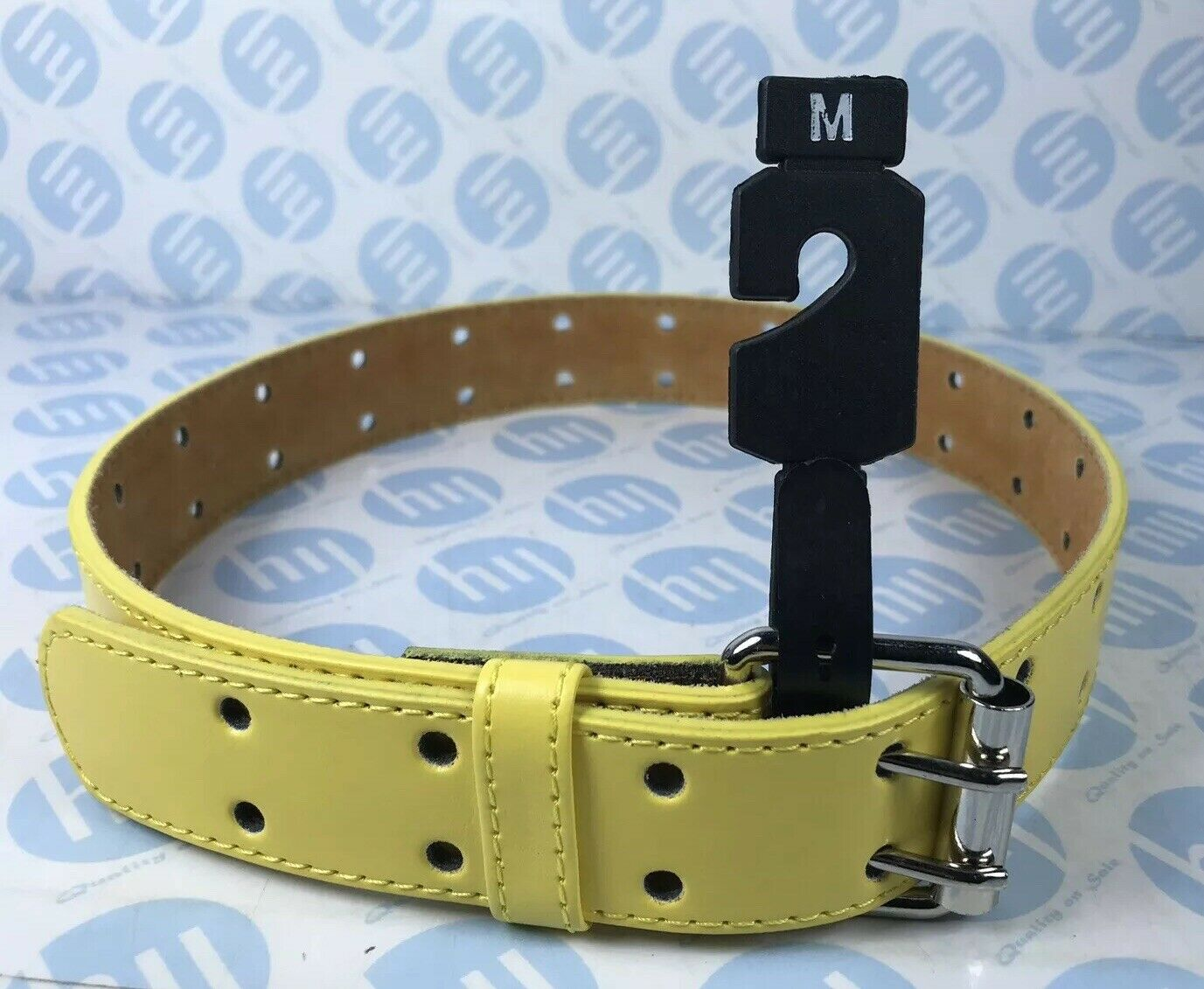 """Leather Belt Yellow With Tow Whole Strong Lock M 32mm X 74cm Fit Up To 20""""-28"""""""