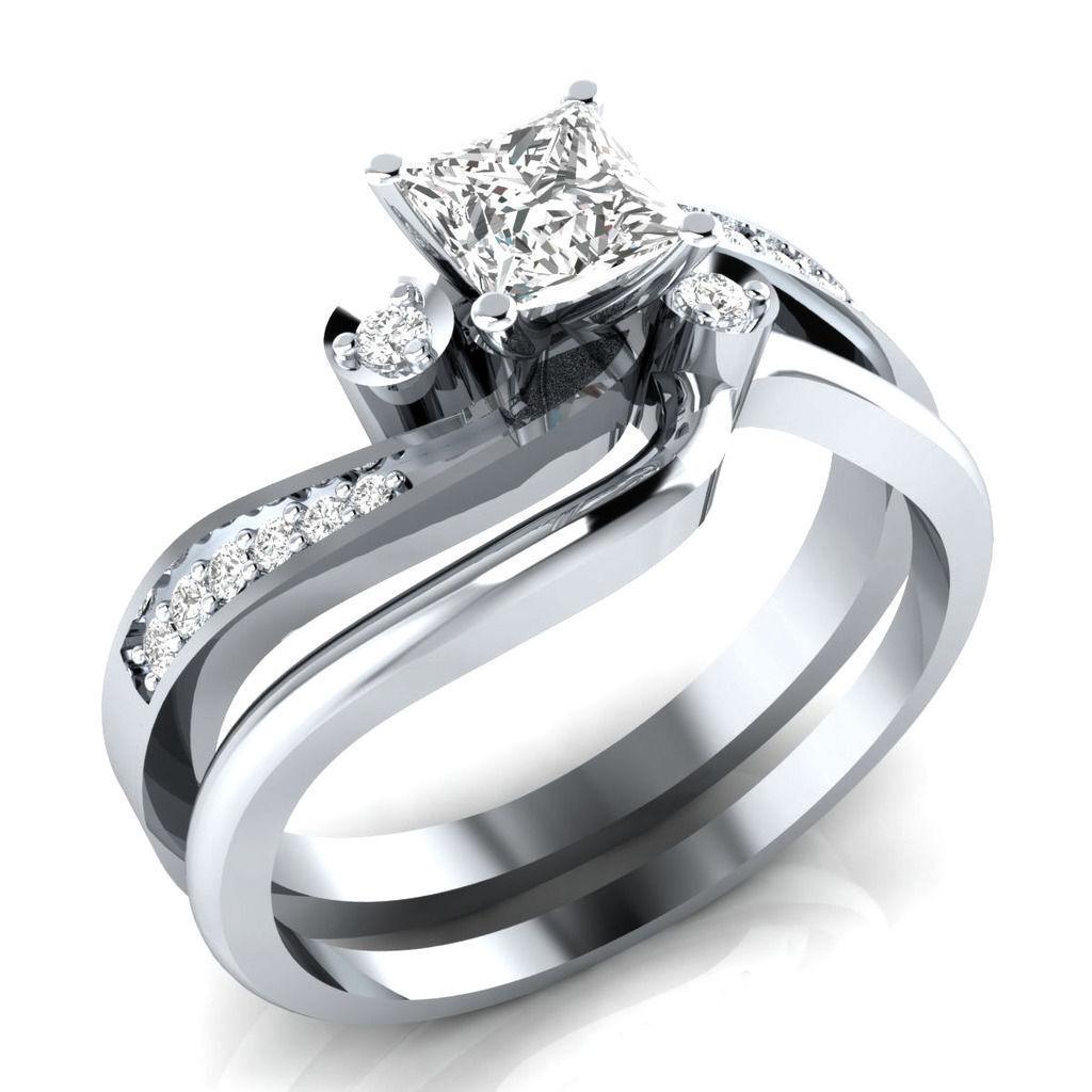 Certified 2.00Ct White Princess Diamond Engagement Real 14K gold Bridal Set Ring