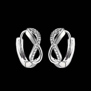 Image Is Loading 18k White Gold Gp Silver Infinity Earrings Hoop