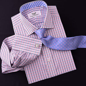 Red Striped Business Formal Floral Dress Shirt White Plaid Blue Check Checkered