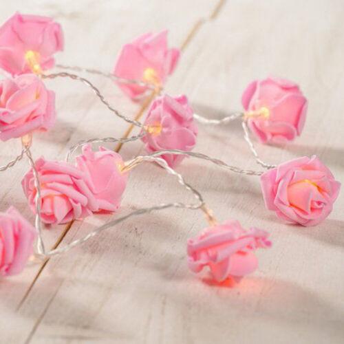 Rosa rose mit warmwei led fee lichterkette party hochzeit blumenzwiebeln GE