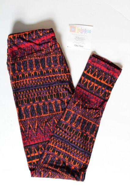 76b8bb25903db9 NEW LuLaRoe One Size leggings black red orange purple print pattern NWT OS  soft