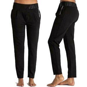 EVERLAST-pantalone-da-donna-harem-cavallo-basso-elasticizzato-e-incrociato-nero