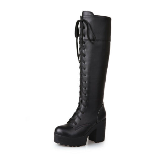 Womens Block Heel Knee High Boots Platform Punk Gothic Lace Up Roma Motor Riding