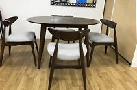 Retro Dsw Dining Table & 4 Chairs Set Solid Made Curve Thick Comfortable Chairs