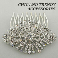 VICTORIAN STYLE CLEAR CRYSTAL HAIR COMB FORMAL ACCESSORIES CHIC & TRENDY JEWELRY