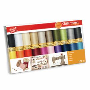 Gutermann 20 x 100m Natural Cotton C No.50 Assorted Sewing Thread Box Set Pack