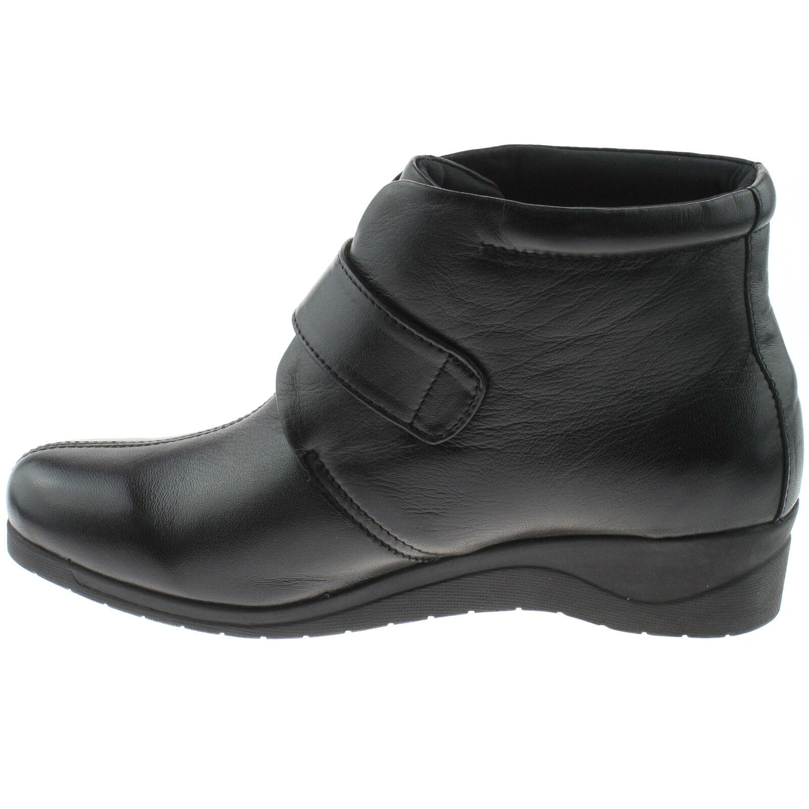 Damen Mod comfys weiches Leder Stiefel 8 Größe UK 3 - 8 Stiefel Knöchel Schwarz l874a KD 390e12