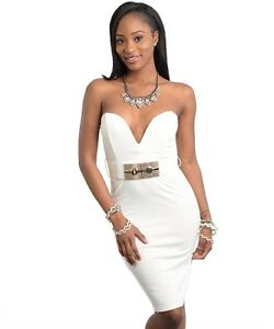 a02d556b10856 NEW!!! Sz LRG STRAPLESS SWEETHEART DRESS W GOLD BELT/WHITE/ SEXY ...