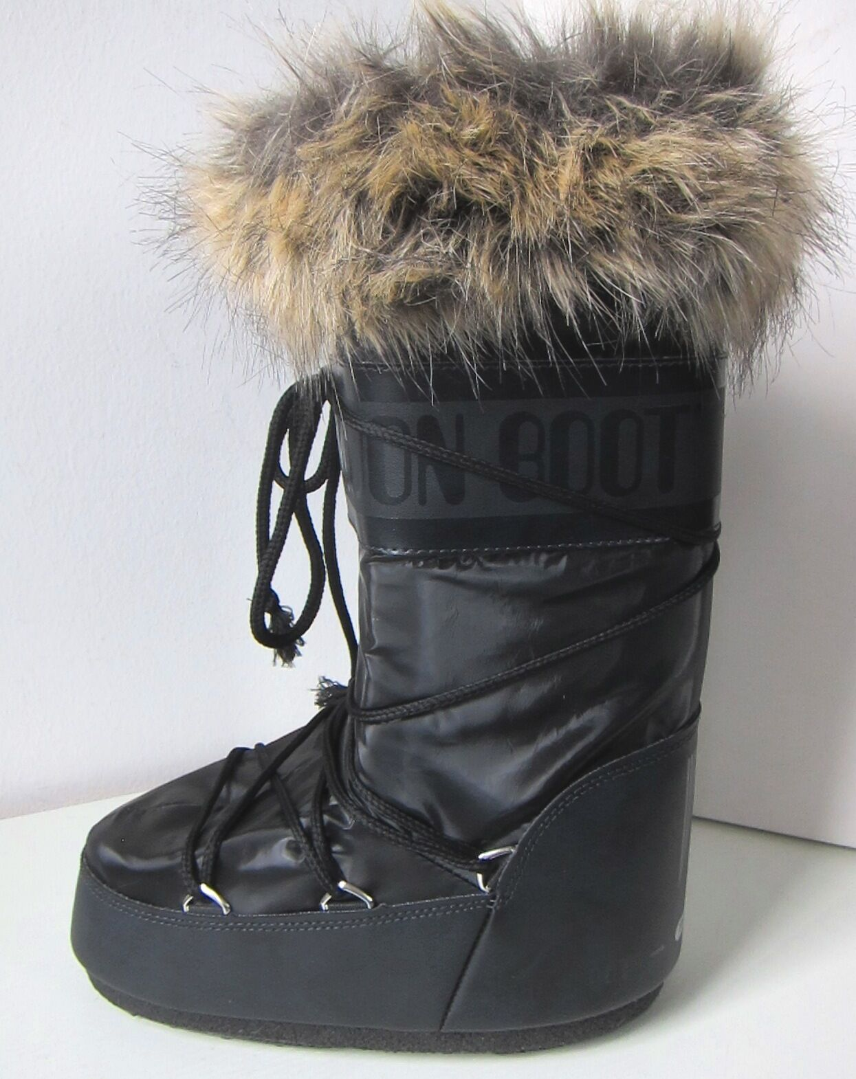 Tecnica Moon Boot romance negro Moon botas piel sintética fell Fake fur