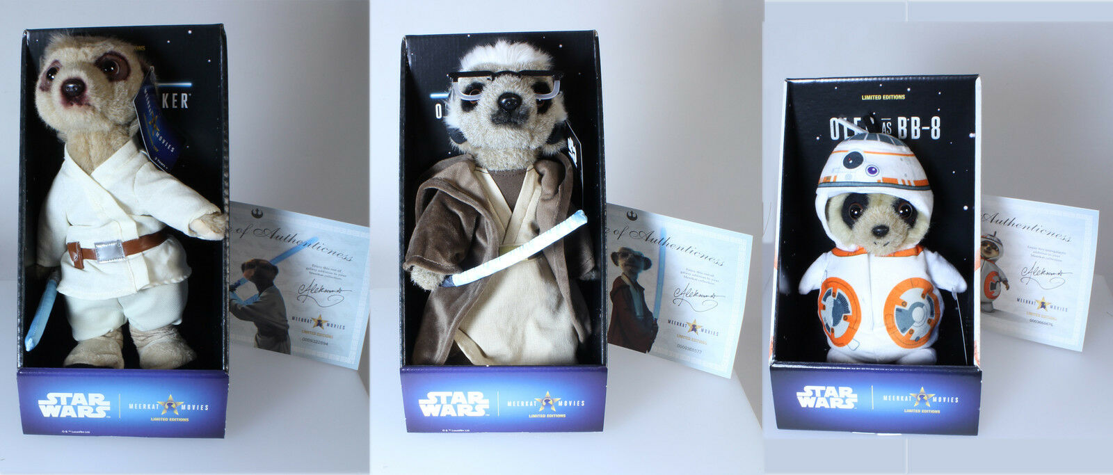 Discontinued Compare The Meerkat Star Wars Trio - Luke, Obi-Wan Kenobi and BB8