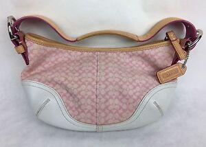 Image Is Loading Coach Pink White Leather Signature Logo Soho Hobo