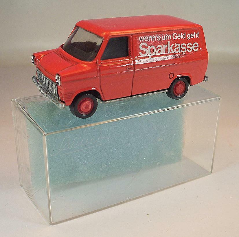 SCHUCO 1 66 Nº 311912 FORD TRANSIT encadré caisse d'épargne publicitaires modèle neuf dans sa boîte  241