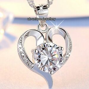 CHRISTMAS-GIFTS-FOR-HER-925-Silver-Crystal-Heart-Necklace-Love-Women-Jewellery