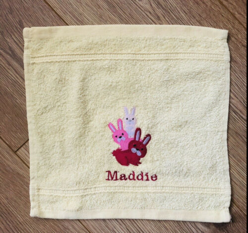 Bath Towels colour choice Personalised any Name Bunny embroidery Face Hand