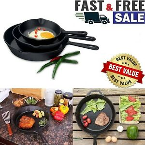 3-CAST-IRON-SKILLET-Pre-Seasoned-6-8-10-Inch-Stove-Oven-Fry-Pans-Cookware-Set