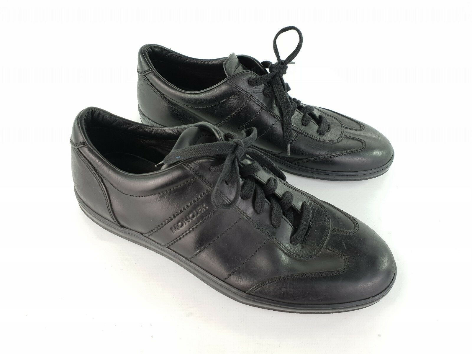 Mens Authentic Moncler Black Leather shoes Trainers Size 46