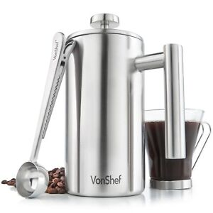 VonShef-6-Cup-French-Press-Double-Walled-Stainless-Steel-Cafetiere-Coffee-Maker