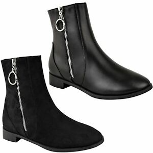 a1287c2b410e Womens Ladies Flat Low Block Heel Zip Up Black Chelsea Ankle Boots ...