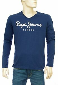 PEPE JEANS t shirt homme Original stretch V long BLUE bleu marine ... d048806c04c