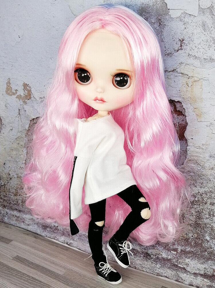 Blythe Desnuda Muñeca de fábrica rosadododo Cabello Azul mixtos Maquillaje De Cejas Ojos Para Dormir
