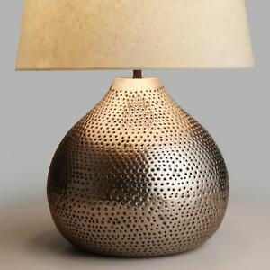 Image Is Loading Round Pewter Table Lamp Base Punched Hammered Textured