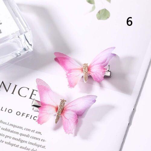 2PCS//Set Girls Colorful Butterfly Cartoon Hairpin Children Fashion Hair Clips/' O