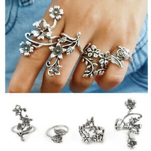 New-4pcs-Retro-Flower-Leaves-Midi-Finger-Knuckle-Rings-Set-Women-Boho-Jewelry