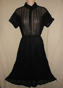 BRANDY-USA-S-M-38-NWT-Black-Sheer-Lace-Dress-Rockabilly-Grunge-Pin-Up-Melville