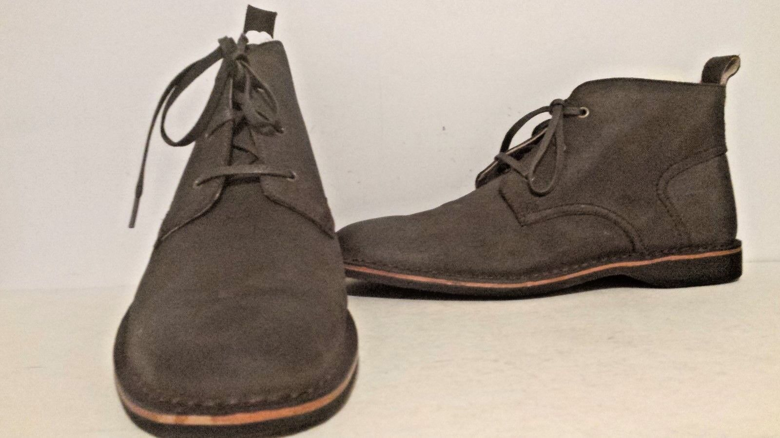 Andrew Marc Mens Dorchester Leather Chukka Boots Dk Brown Blk DNatural Ntrl 8 12