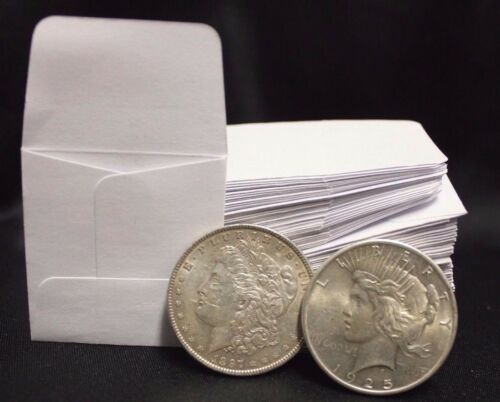 1000 2x2 White Paper Coin Stamp Envelope GUARDHOUSE Archival Acid Sulpher Free