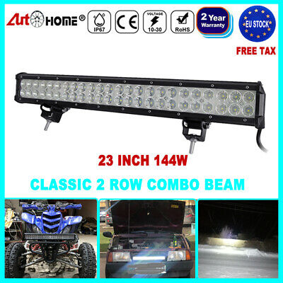 25 inch 144W  Spot beam LED Light Bar Work Lamp Double Row Offroad Truck ATV 4WD