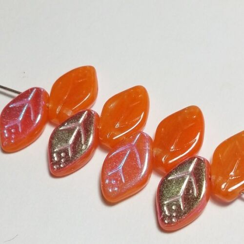 20pcs Orange /& Métallique Czech glass Leaf Perles 12x7mm Bijoux Fournitures GB286