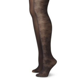 Betsey-Johnson-NWT-2-Pack-Black-Floral-Tights-Pantyhose-Women-039-s-Size-S-M-New