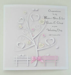 Image Is Loading Large Stunning Personalised Wedding Day Card Pink Ivory