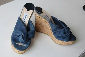 NEW-Jimmy-Choo-Blue-Denim-Gold-Studded-Cork-Wedge-Sandals-5-5-5-38-39-50-off