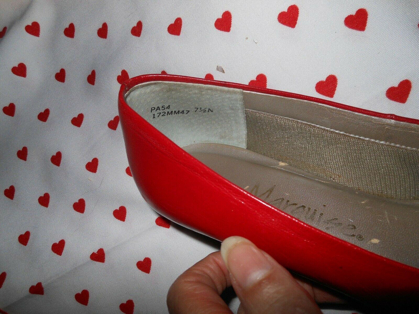 Vintage 1990s Marquise RED Kid Leather Skimmer Fl… - image 6