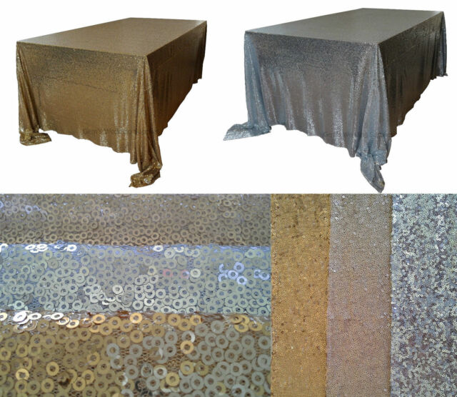 "Sequin Table Cloth 6 foot 90""x132"" Gold Silver Wedding Sparkly Party Decor"