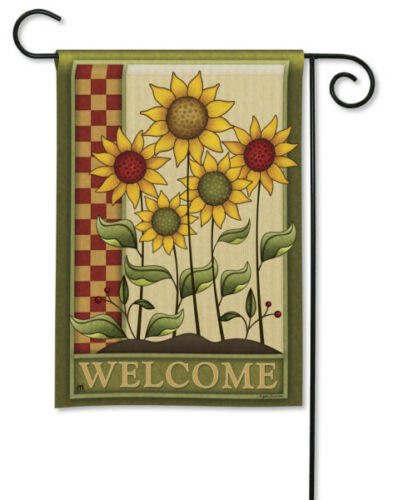 "SIMPLY SUNFLOWERS COUNTRY WELCOME 12.5/"" x 18/"" Small Decorative Banner Flag"