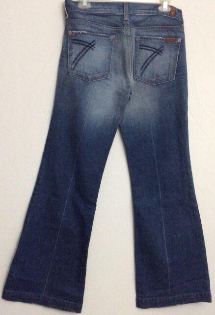 7 For All Mankind $199 Distressed Medium Wash Flared Jeans Dojo GUC Sz 29 X 31.5