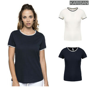Kariban-Women-039-s-Pique-Knit-Crew-Neck-Cotton-T-Shirt-K393-Short-Sleeve-Top