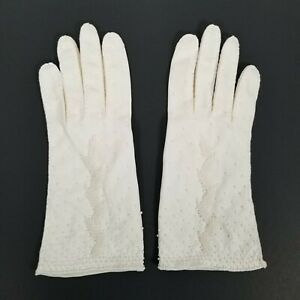 Vtg-Ladies-White-Gloves-Beaded-Made-in-Hong-Kong-1970s-Size-7-5